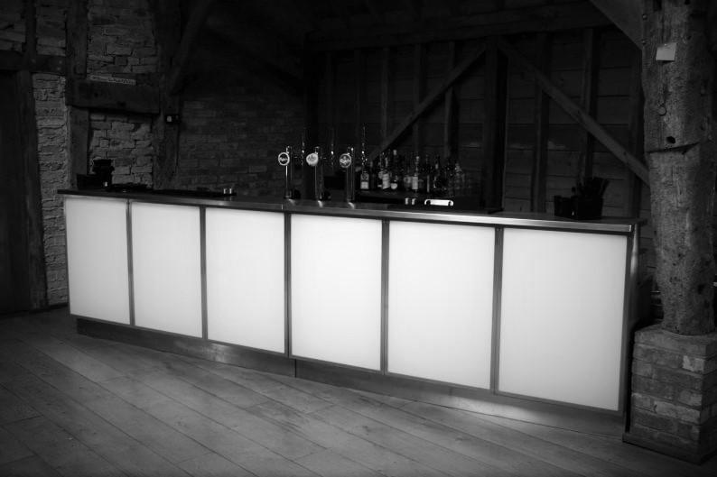 event wedding bar in barn