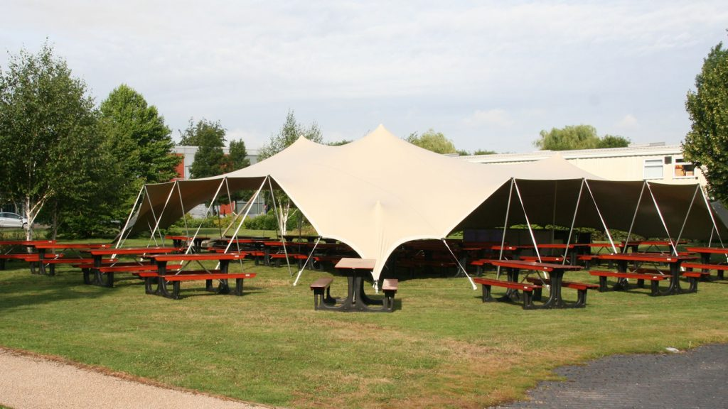 strech tent marquee and pic nic benchs