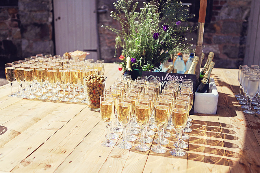 Champange Recepion for Welsh Wedding